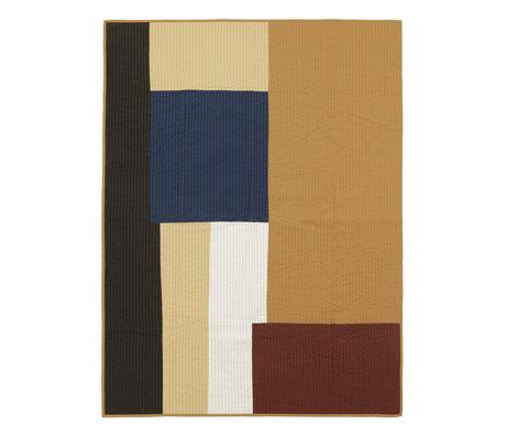 Ferm Living Woondeken Shay Patchwork Quilt Mustard geel katoen 180x130cm