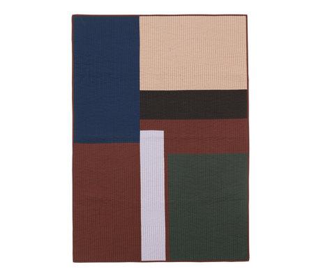 Ferm Living Couverture Living Shay Patchwork Quilt Coton Brun 180x130cm