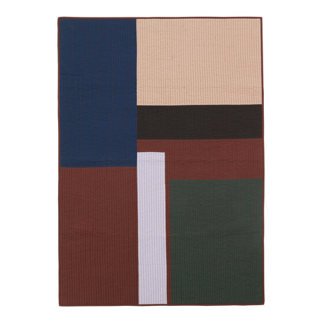 Ferm Living Living blanket Shay Patchwork Quilt Cinnamon brown cotton 180x130cm