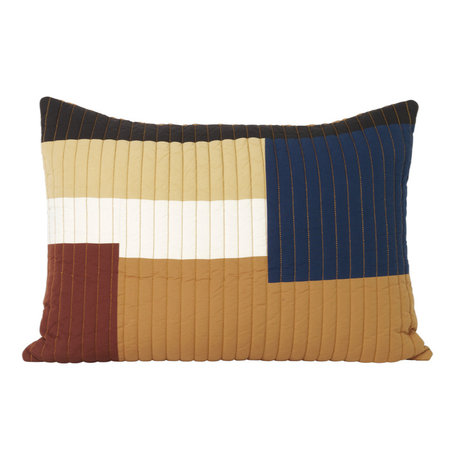 Ferm Living Cushion Shay Quilt Mustard yellow cotton 60x40cm