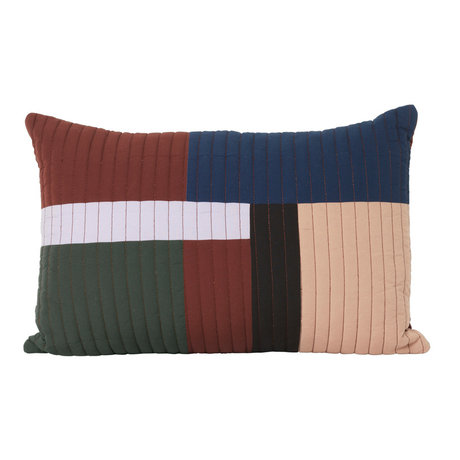 Ferm Living Cushion Shay Quilt Cinnamon brown cotton 60x40cm