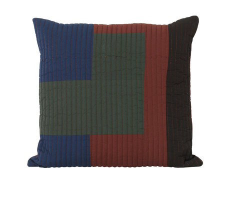 Ferm Living Cushion Shay Quilt Cinnamon brown cotton 50x50cm