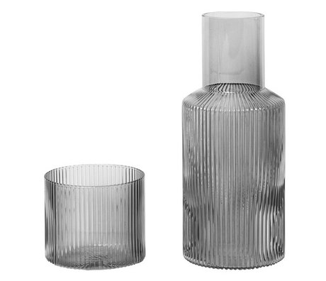Ferm Living Karaf Ripple Small Smoked grijs glas set van 2