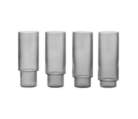 Ferm Living Long Drink Glass Ripple geraucht grau 4er Set