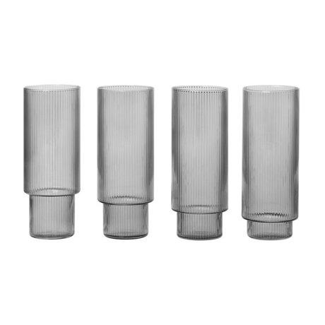 Ferm Living Ensemble de 4 verres Long Drink Glass Ripple, gris fumé