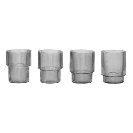 Ferm Living Glas Ripple Smoked grijs glas set van 4