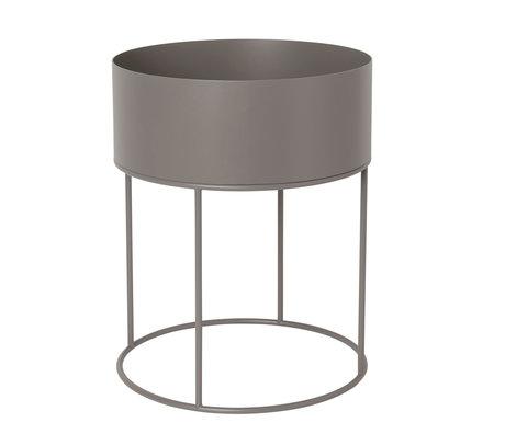 Ferm Living Boîte à plantes ronde chaud gris métal 40x40x50cm