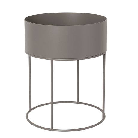 Ferm Living Plant Box Round warm gray metal 40x40x50cm