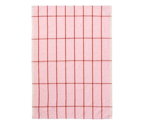 Ferm Living Geschirrtuch Hale Yarn Dyed Linen pink rostorange 70x50cm