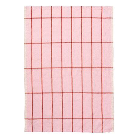 Ferm Living Theedoek Hale Yarn Dyed Linnen roze roest oranje 70x50cm