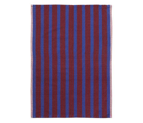 Ferm Living Theedoek Hale Yarn Dyed Linnen bruin blauw 70x50cm