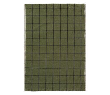 Ferm Living Torchon Hale Yarn Dyed Linen vert noir 70x50cm