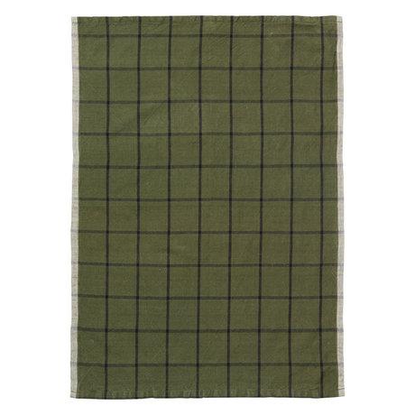 Ferm Living Geschirrtuch Hale Yarn Dyed Linen grün schwarz 70x50cm
