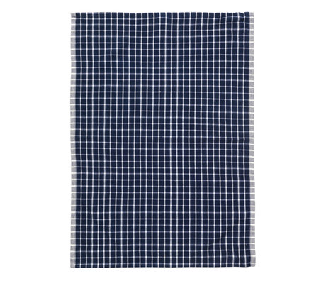 Ferm Living Theedoek Hale Yarn Dyed Linnen blauw off-white 70x50cm