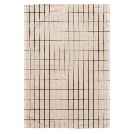 Ferm Living Tea towel Hale Yarn Dyed Linen sand brown black 70x50cm