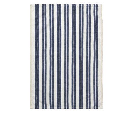 Ferm Living Geschirrtuch Hale Yarn Dyed Leinen Off-White blau 70x50cm