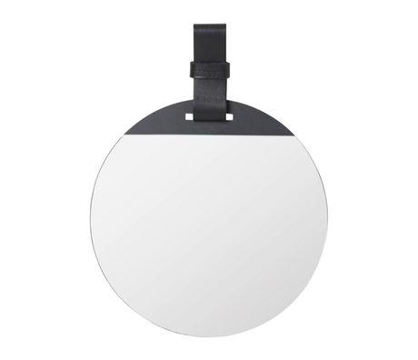 Ferm Living Miroir Enter Small cuir de métal noir 26x1x35cm