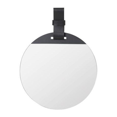 Ferm Living Spiegel Enter Small zwart metaal leer 26x1x35cm