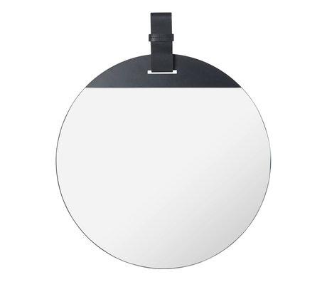Ferm Living Spiegel Enter Large zwart metaal leer 45x1x53cm