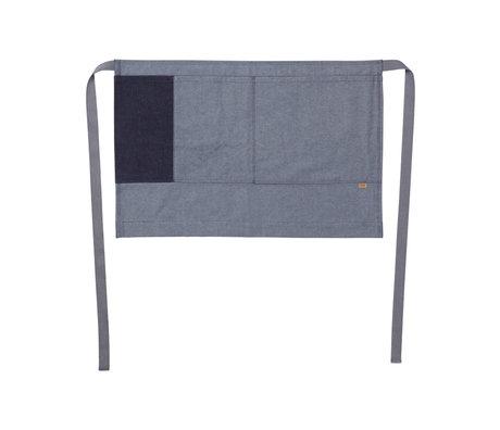 Ferm Living Tablier de cuisine demi-tablier en jean bleu coton 75x50cm