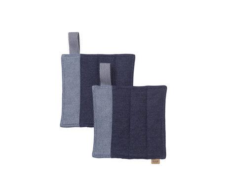 Ferm Living Ensemble de 2 gants en coton bleu denim