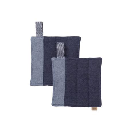 Ferm Living Pannenlappen Denim blauw katoen set van 2