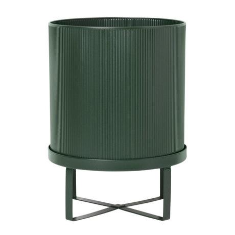 Ferm Living Pot Bau Large Ø28x38cm en acier vert foncé