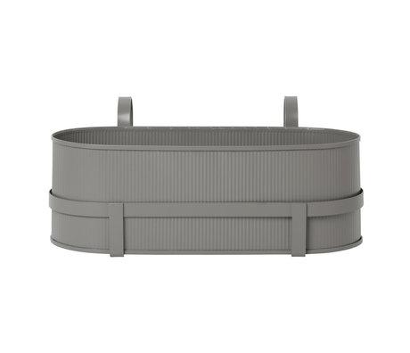 Ferm Living Jardinière Bau Balcony Box en acier gris chaud 17,8x45,3x20cm
