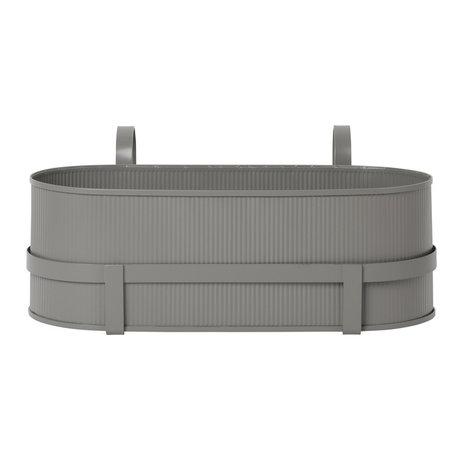 Ferm Living Pflanzgefäß Bau Balkonbox warmgrau Stahl 17,8x45,3x20cm