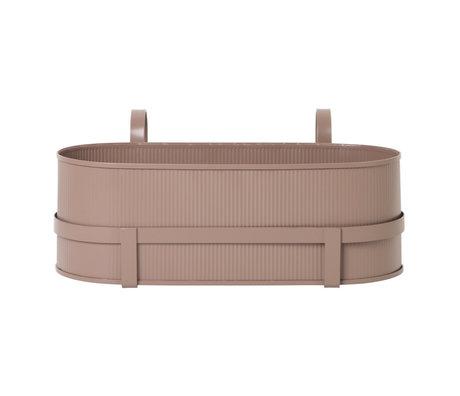 Ferm Living Pflanzgefäß Bau Balkonbox staubiger rosa Stahl 17,8x45,3x20cm