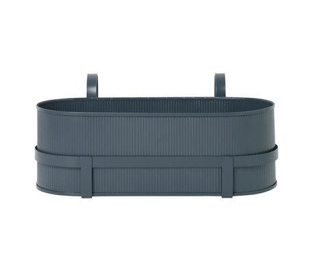 Ferm Living Pflanzgefäß Bau Balkonbox dunkelblau Stahl 17,8x45,3x20cm