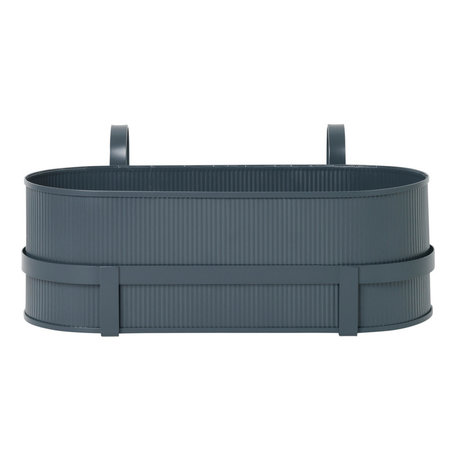 Ferm Living Plantenbak Bau Balcony Box donker blauw staal 17,8x45,3x20cm