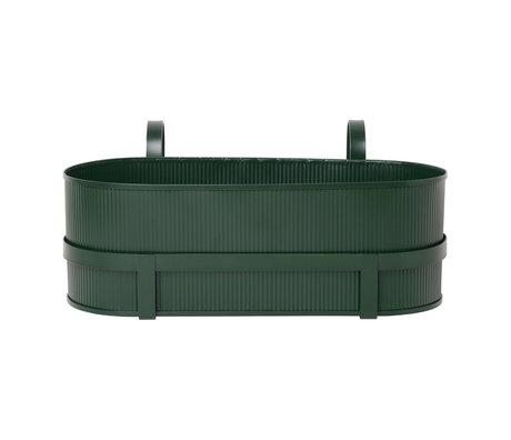 Ferm Living Jardinière Bau Balcony Box acier vert foncé 17,8x45,3x20cm