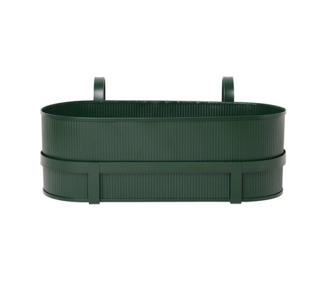 Ferm Living Pflanzgefäß Bau Balkonbox dunkelgrüner Stahl 17,8x45,3x20cm