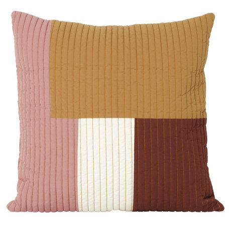 Ferm Living Cushion Shay Quilt Mustard yellow cotton 50x50cm
