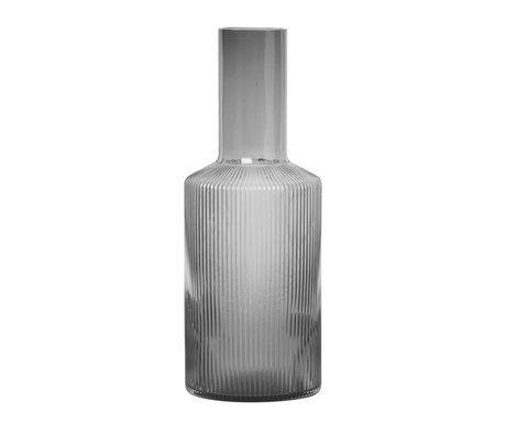Ferm Living Karaf RippleCarafe Smoked grijs glas set van 3