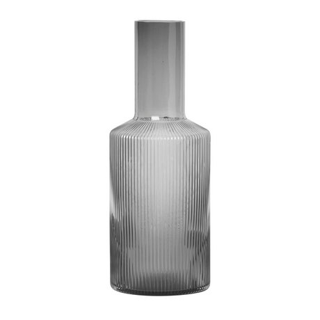 Ferm Living Karaf Ripple Smoked grijs glas Ø9x34cm