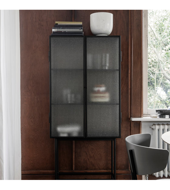 Metal glass cabinet Modern Wow Beautiful Showcase Of Ferm Living Convenient To Store Your Fine China On Whether Your Treasures Youve Collected During Your Travel Far Wonen Met Lef Ferm Living Haze Cabinet Showcase Black Metal Glass 70x155x32cm
