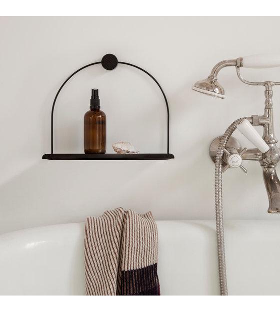 Wandplank Zwart Metaal Hout.Wandplank Bathroom Zwart Metaal Hout 26x10x21cm