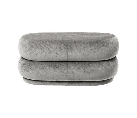 Ferm Living Pouf Oval concrete gray faded velvet 90x42x40cm