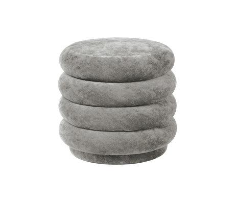 Ferm Living Puff Runder betongrauer, verwaschener Samt Ø42x40cm