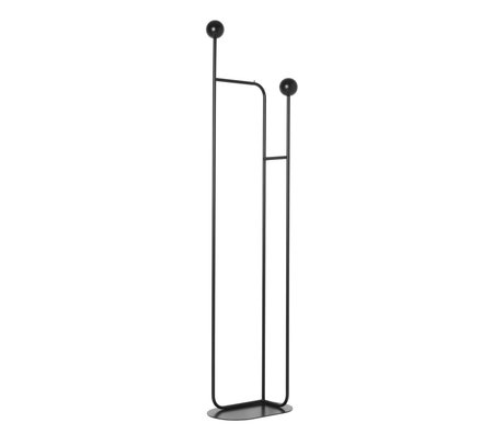 Ferm Living Standing coat rack Pujo black metal wood 43x26x177.4 cm