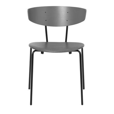 Ferm Living Chaise de salle à manger Herman cuir gris bois métal 50x47x74cm
