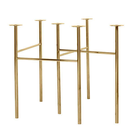 Ferm Living Pieds de table Mingle W68 laiton doré métal set de 2 79x44.4x71cm