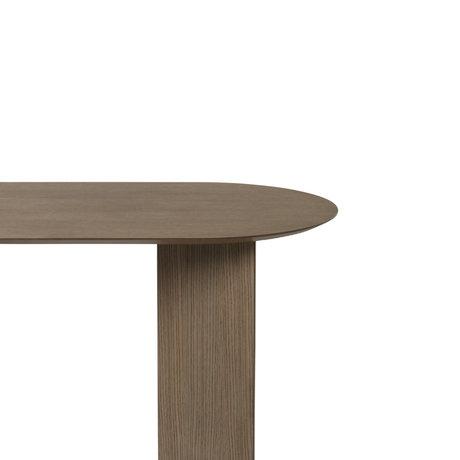 Ferm Living Tischplatte Mingle Oval dunkel gebeiztes braunes Holz Linoleum 220cm