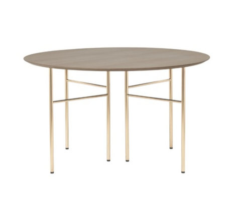 Ferm Living Linge de table rond linoléum en bois brun foncé teinté Ø130cm