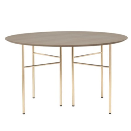 Ferm Living Tabletop Mingle Round dark stained brown wood linoleum Ø130cm