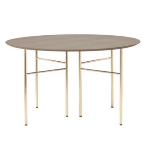 Ferm Living Tischplatte Mingle Round dunkel gebeiztes braunes Holz Linoleum Ø130cm