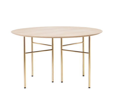 Ferm Living Tabletop Mingle Round natural oak brown wood linoleum Ø130cm