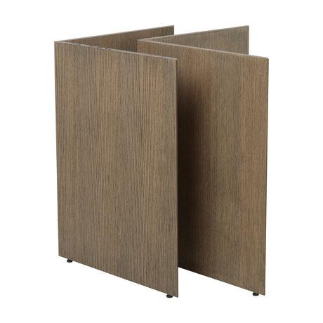 Ferm Living Pieds de table Mingle W68 en bois brun foncé teinté 78,7 x 44,4 x 71,6 cm